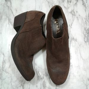 Korks Brown Suede Leather Ankle Boot Stacked Heel